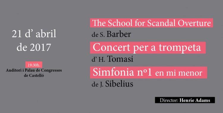 21 de abril: Barber, Tomasi & Sibelius